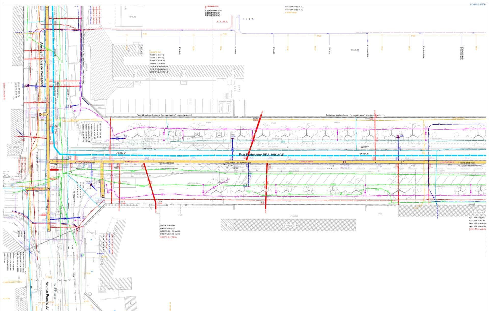 TRAM T6 LYON détection de réseaux enterrés par Detect Réseaux Vénissieux
